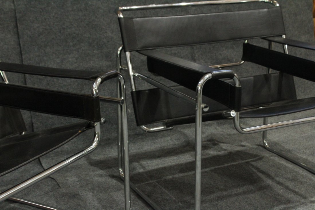 PAIR ORIGINAL KNOLL WASSILY BLACK LEATHER CHROME CHAIRS - 4