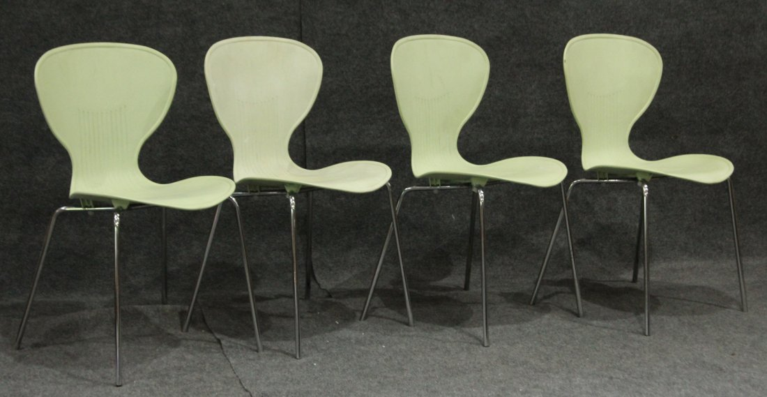"Set 4 Mid-Century Design MOLDED CHAIRS, Made in ""ECC"""