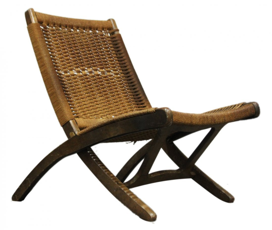 HANS WAGNER FOLDING CHAIR Woven Rope Back & Seat
