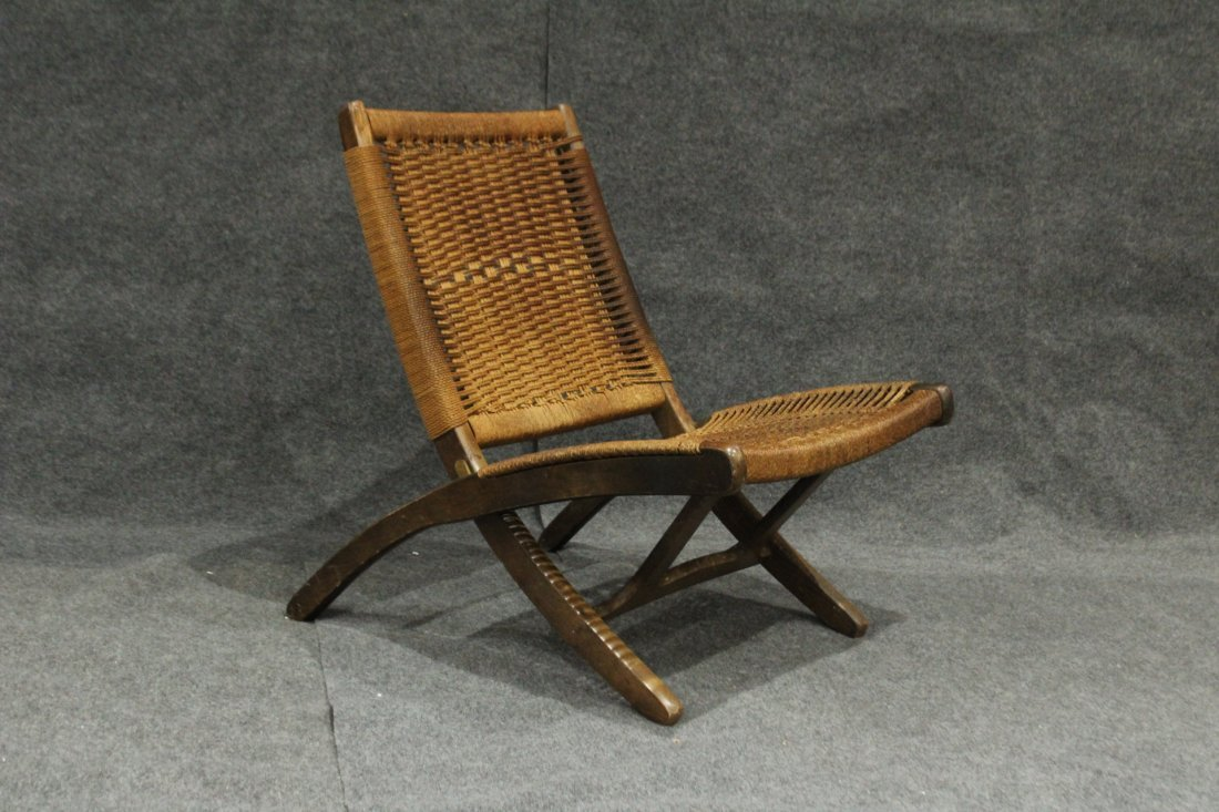 HANS WAGNER FOLDING CHAIR Woven Rope Back & Seat - 2
