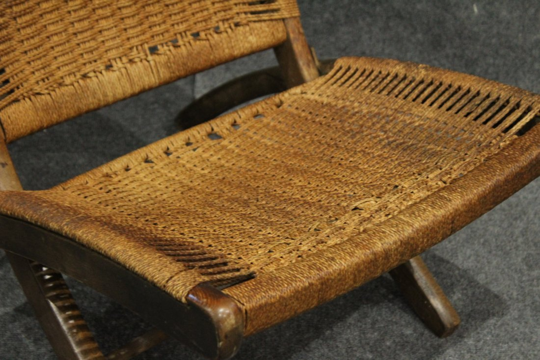 HANS WAGNER FOLDING CHAIR Woven Rope Back & Seat - 4