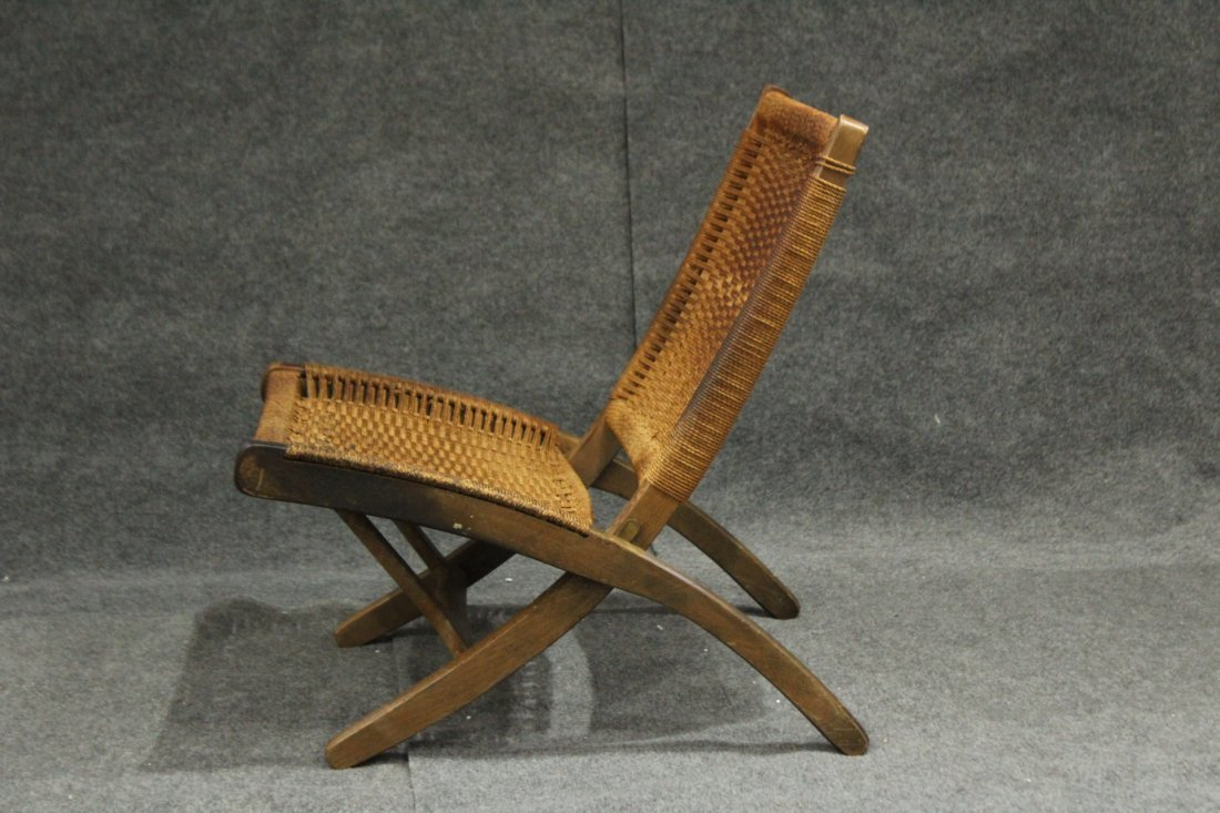 HANS WAGNER FOLDING CHAIR Woven Rope Back & Seat - 6
