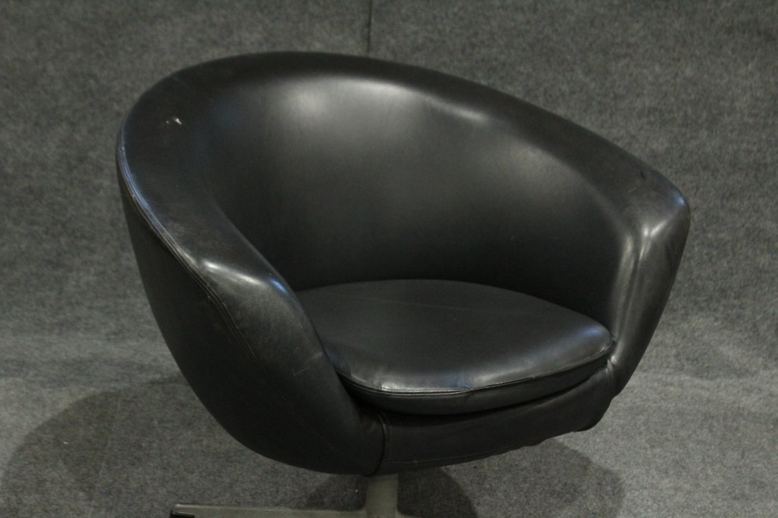 Original 1960s OVERMAN BLACK POD CHAIR With Label - 2