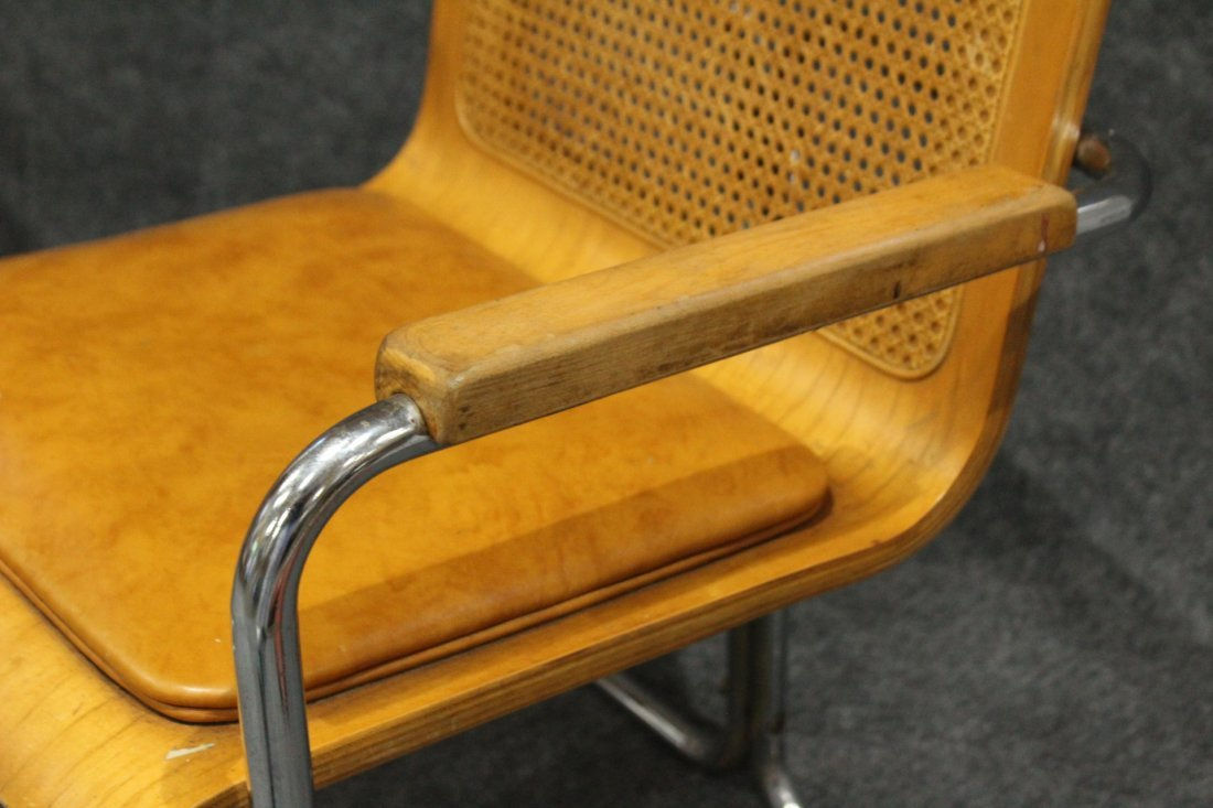 Pair TUBULAR CHROME , CANE BACK, PLY SEAT ARM CHAIRS - 4