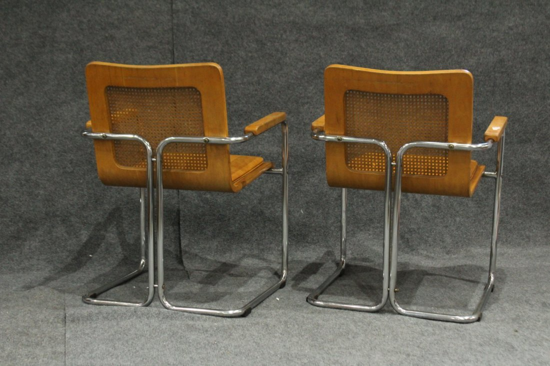 Pair TUBULAR CHROME , CANE BACK, PLY SEAT ARM CHAIRS - 5