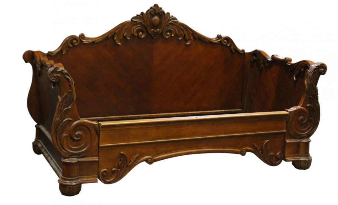 Carved CUSTOM MAHOGANY DAYBED Contemporary Victorian