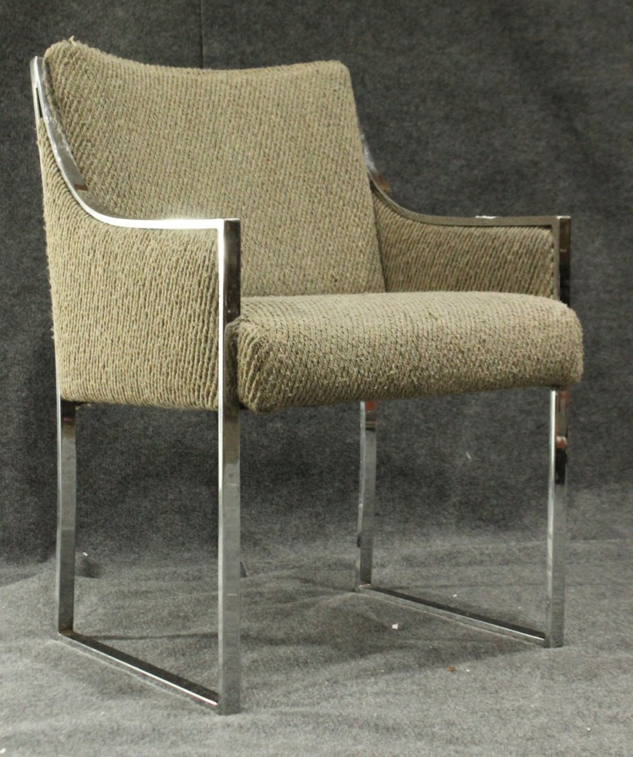MILO BAUGHMAN Flat Bar Chrome Upholstered Arm Chair