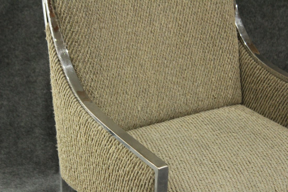 MILO BAUGHMAN Flat Bar Chrome Upholstered Arm Chair - 2