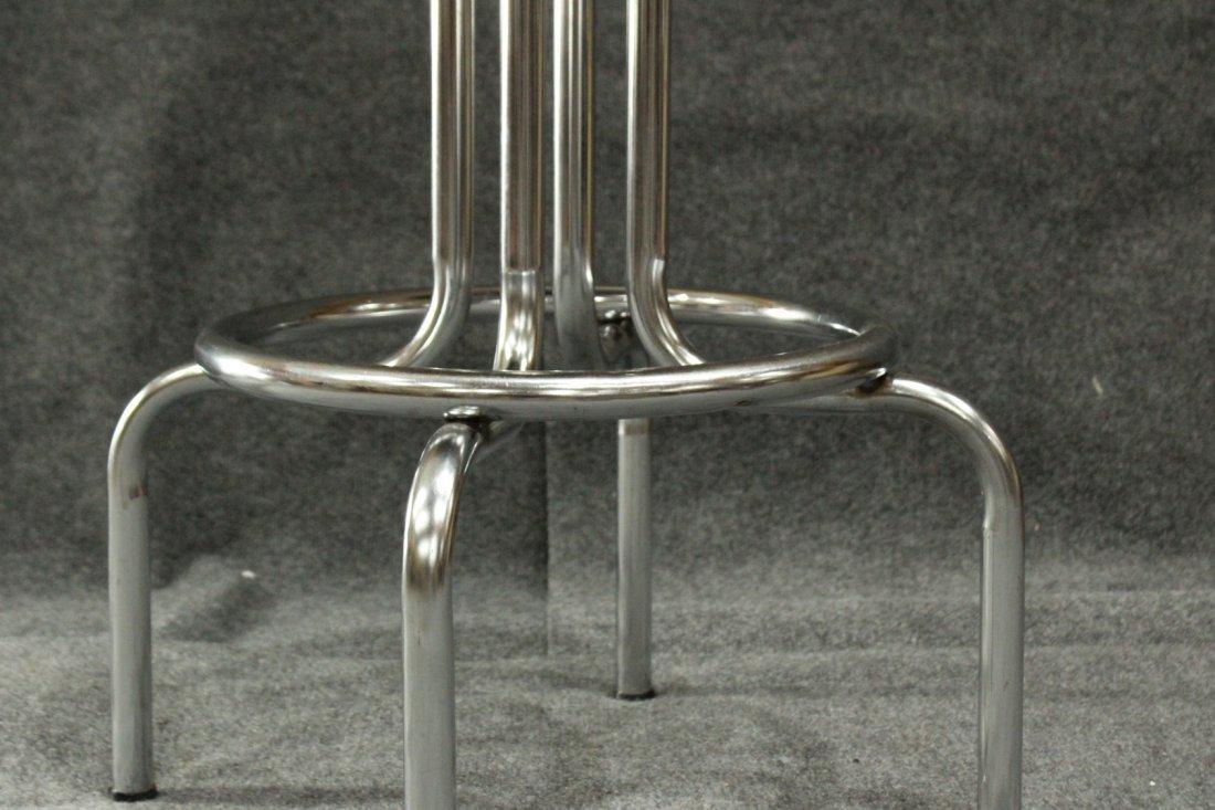 ART DECO TUBULAR CHROME SWIVEL SEAT BAR STOOL - 3