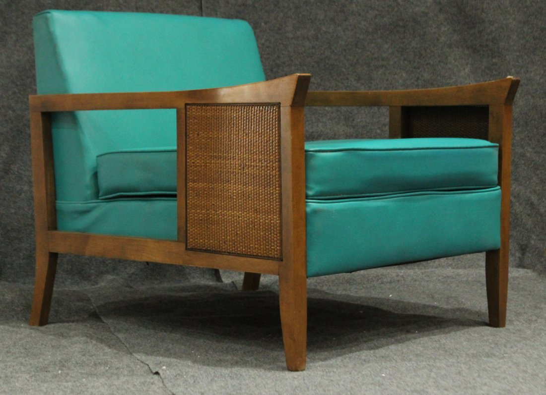 Mid-Century Modern CANE SIDE OCCASIONAL CHAIR AQUA TEAL