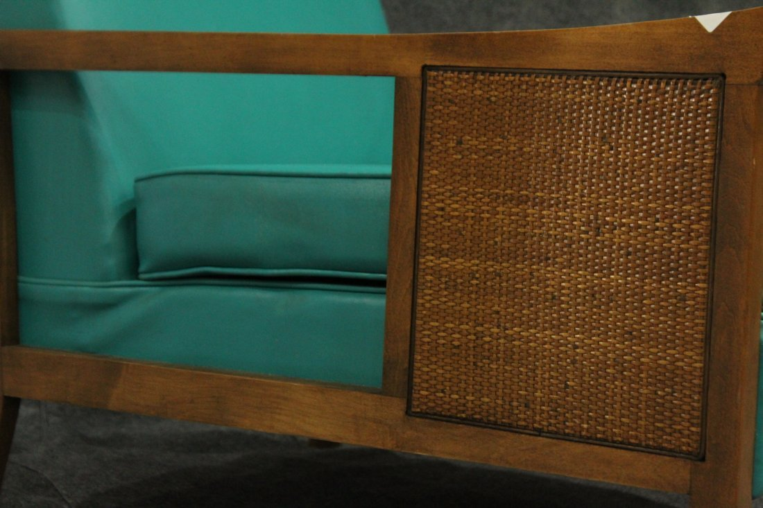 Mid-Century Modern CANE SIDE OCCASIONAL CHAIR AQUA TEAL - 2