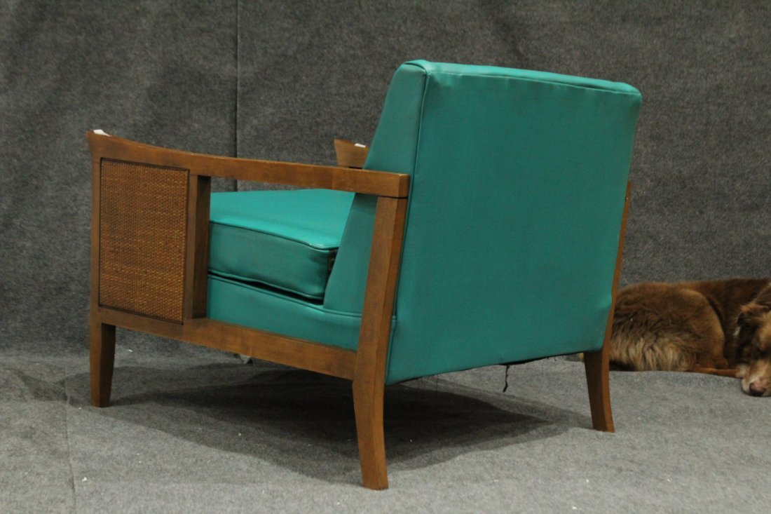 Mid-Century Modern CANE SIDE OCCASIONAL CHAIR AQUA TEAL - 5