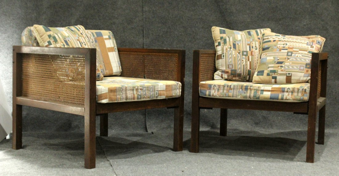 Pair FRANK LLOYD WRIGHT UPHOLSTERED Mid-Century Chairs