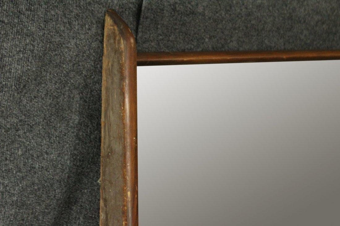 Mid-Century Modern Stylish Teak Frame Wall Mirror - 4