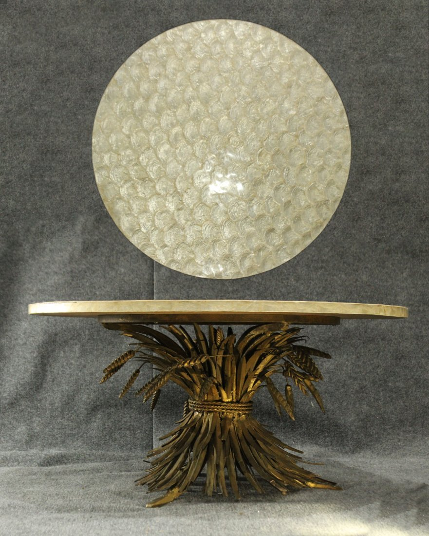 HOLLYWOOD REGENCY BRONZE WHEAT BASE Occasional Table
