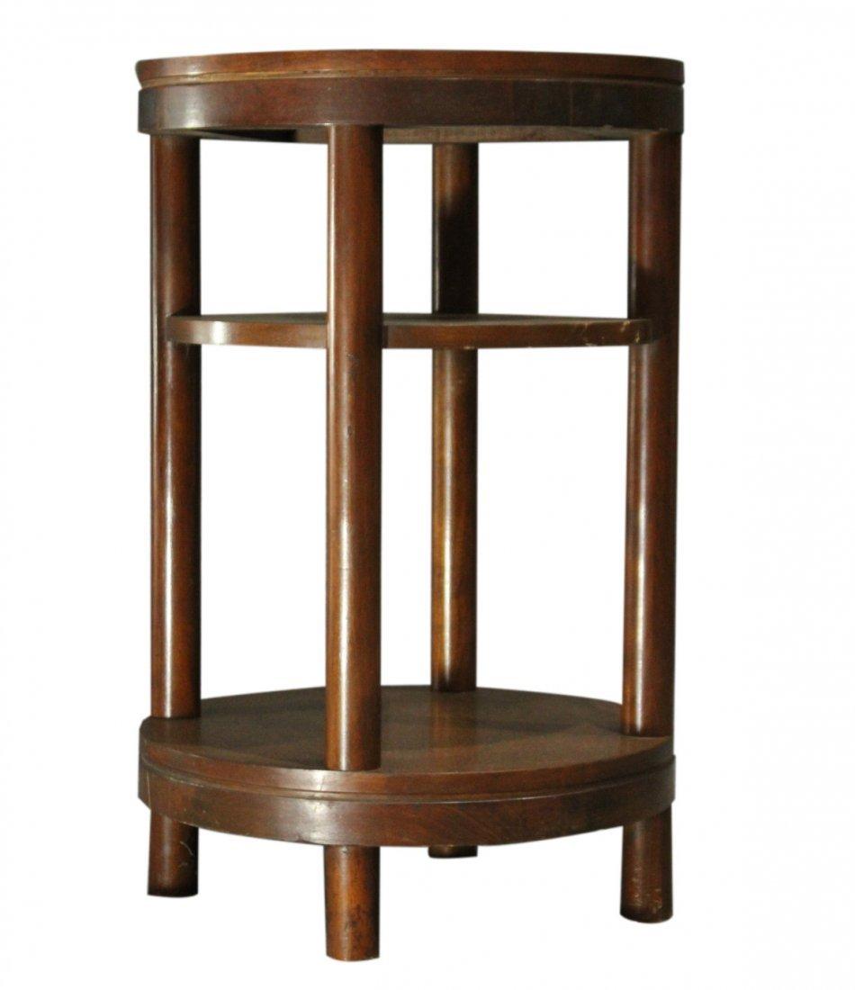 Mid-Century Modern Walnut ROUND CYLINDRICAL STAND