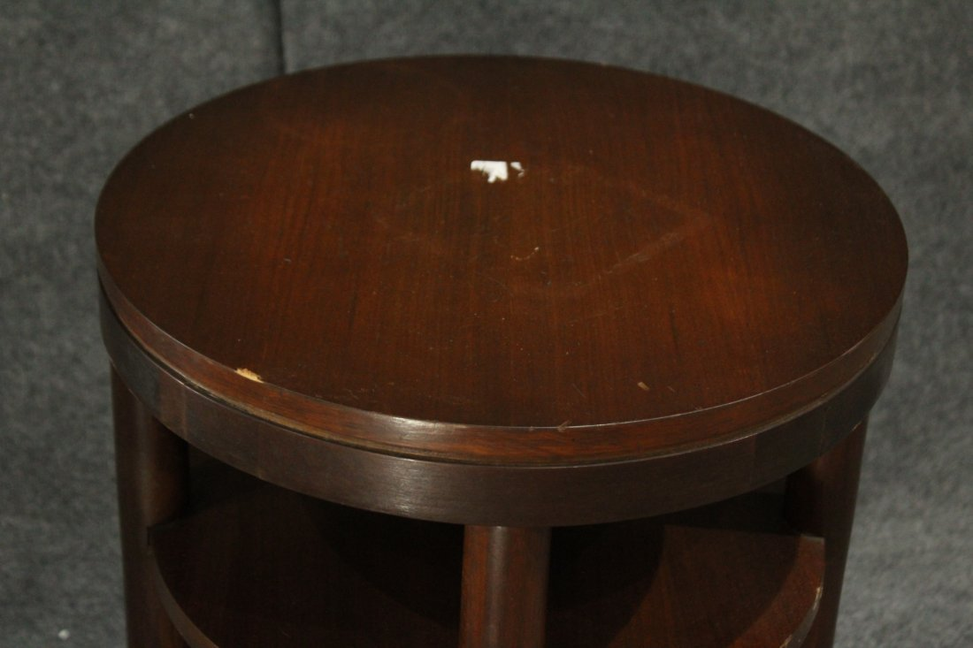 Mid-Century Modern Walnut ROUND CYLINDRICAL STAND - 3