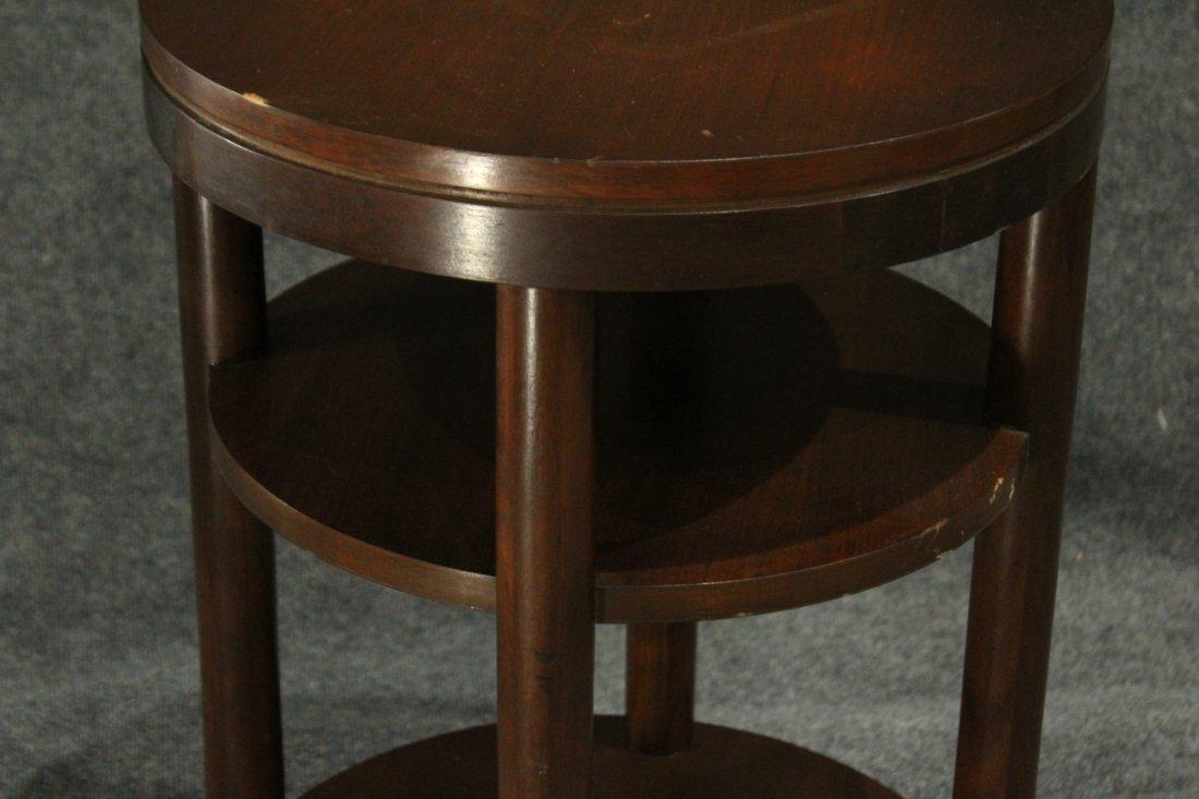 Mid-Century Modern Walnut ROUND CYLINDRICAL STAND - 4
