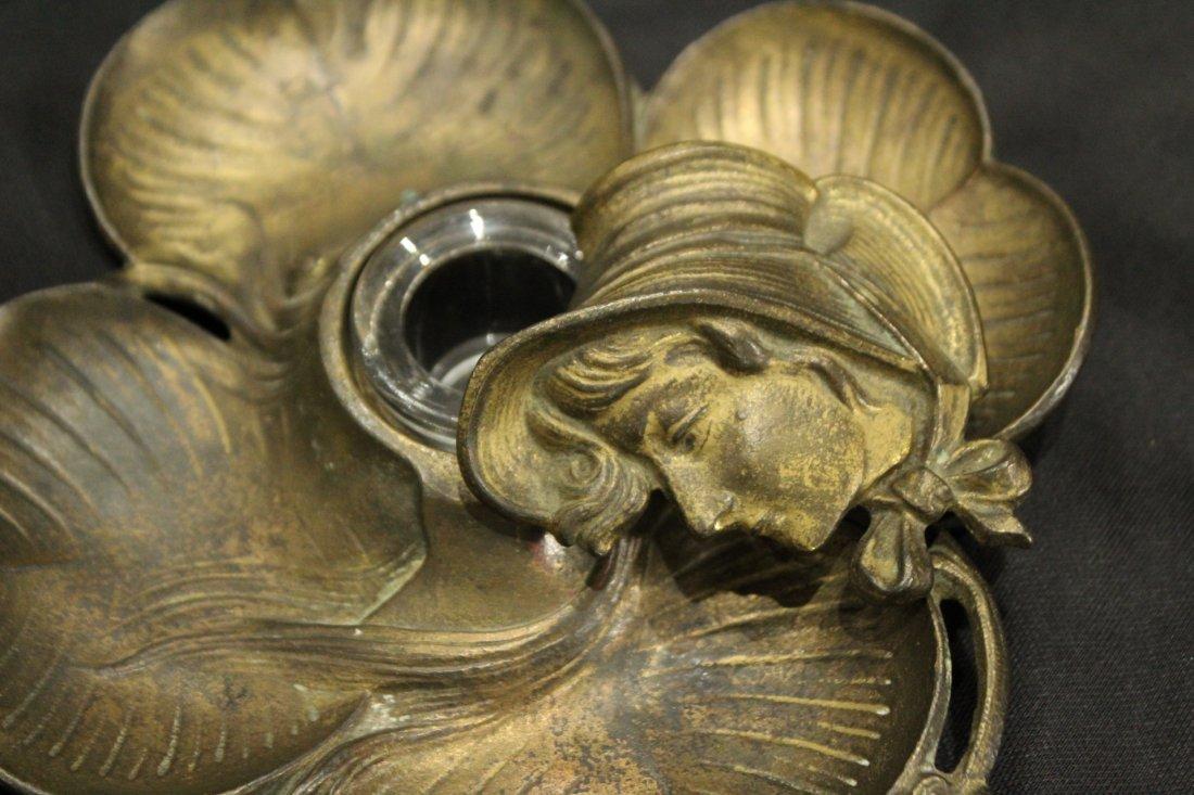 Victorian Bronze INKWELL FOUR LEAF CLOVER LADIES HEAD - 3