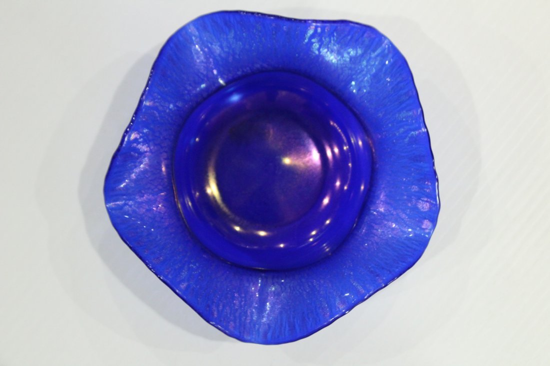 Antique BLUE AURENE STRETCHED ART GLASS BOWL - 4