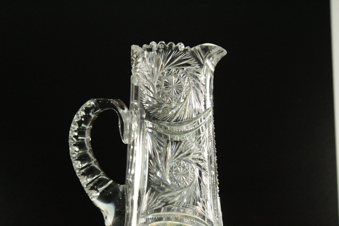 AMERICAN BRILLIANT CUT GLASS Tall Tankard Pitcher - 4