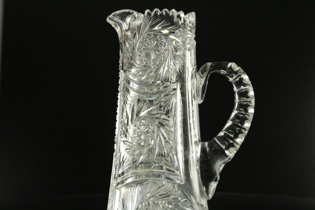 AMERICAN BRILLIANT CUT GLASS Tall Tankard Pitcher - 7