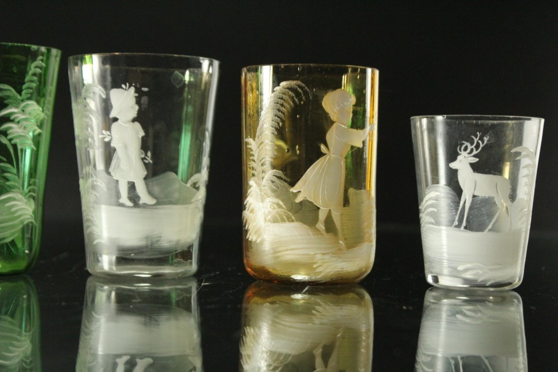 Seven [7] Assorted MARY GREGORY Colored TUMBLERS, VASES - 10