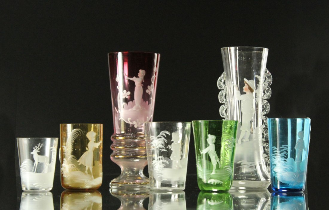 Seven [7] Assorted MARY GREGORY Colored TUMBLERS, VASES