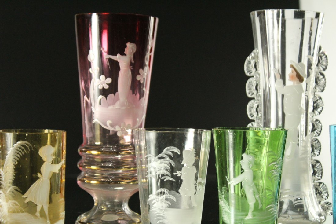 Seven [7] Assorted MARY GREGORY Colored TUMBLERS, VASES - 3