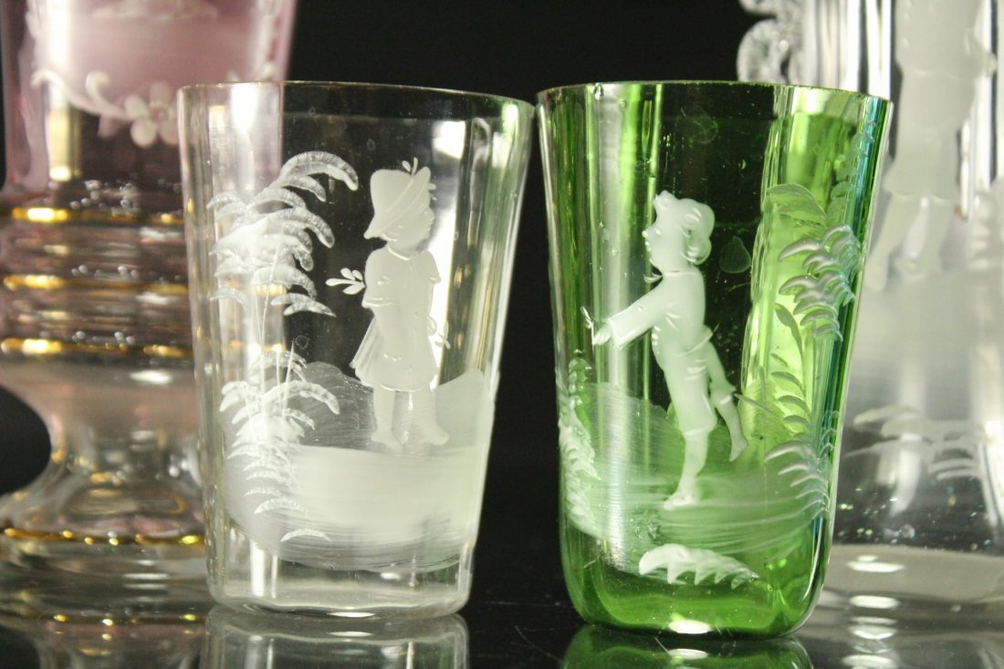 Seven [7] Assorted MARY GREGORY Colored TUMBLERS, VASES - 4