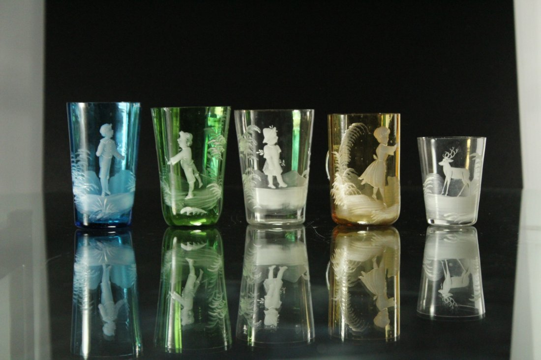 Seven [7] Assorted MARY GREGORY Colored TUMBLERS, VASES - 8