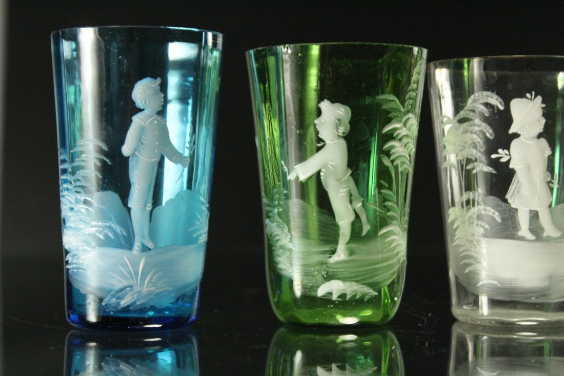 Seven [7] Assorted MARY GREGORY Colored TUMBLERS, VASES - 9