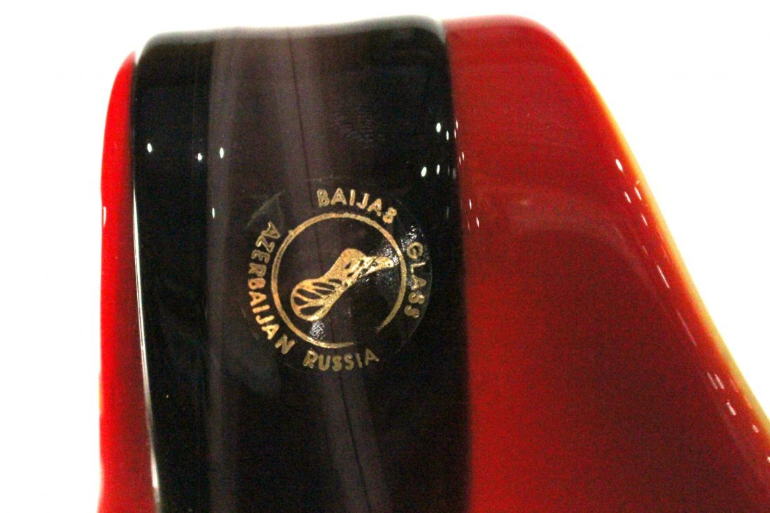 BAIJAB  - RUSSIAN ART GLASS OX BLOOD RED VASE - 3