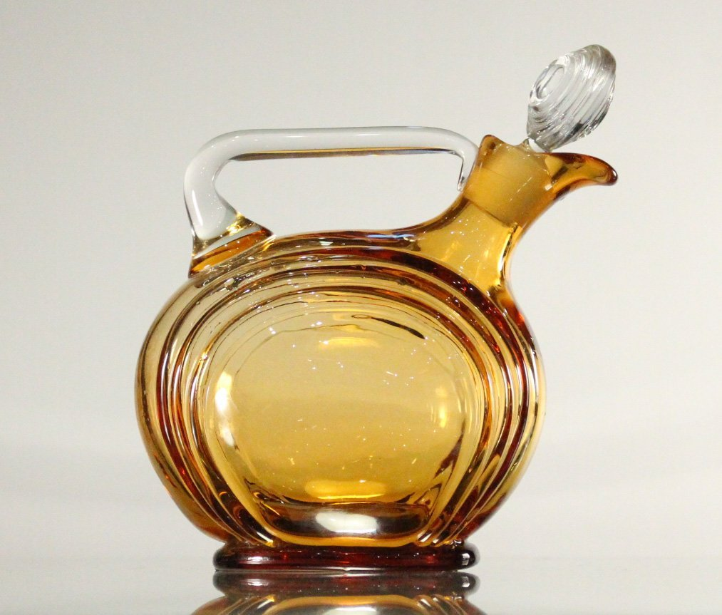 AMBER CAMBRIDGE GLASS DECANTER - Art Deco Style
