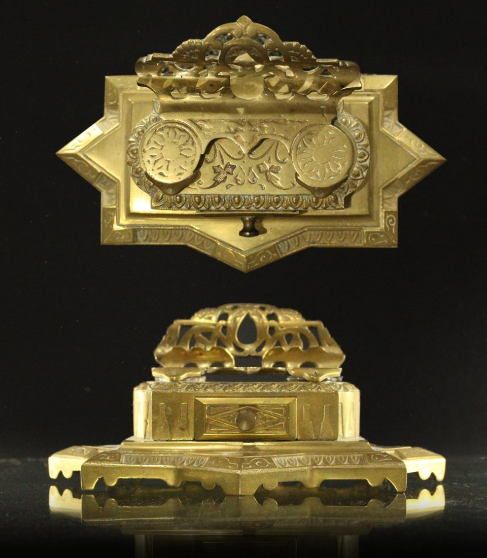Brass Victorian DESK TOP DOUBLE INKWELL Original