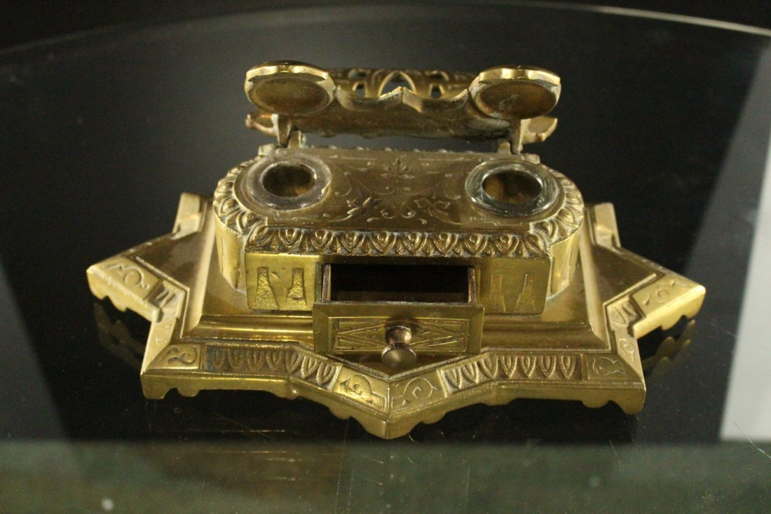 Brass Victorian DESK TOP DOUBLE INKWELL Original - 2