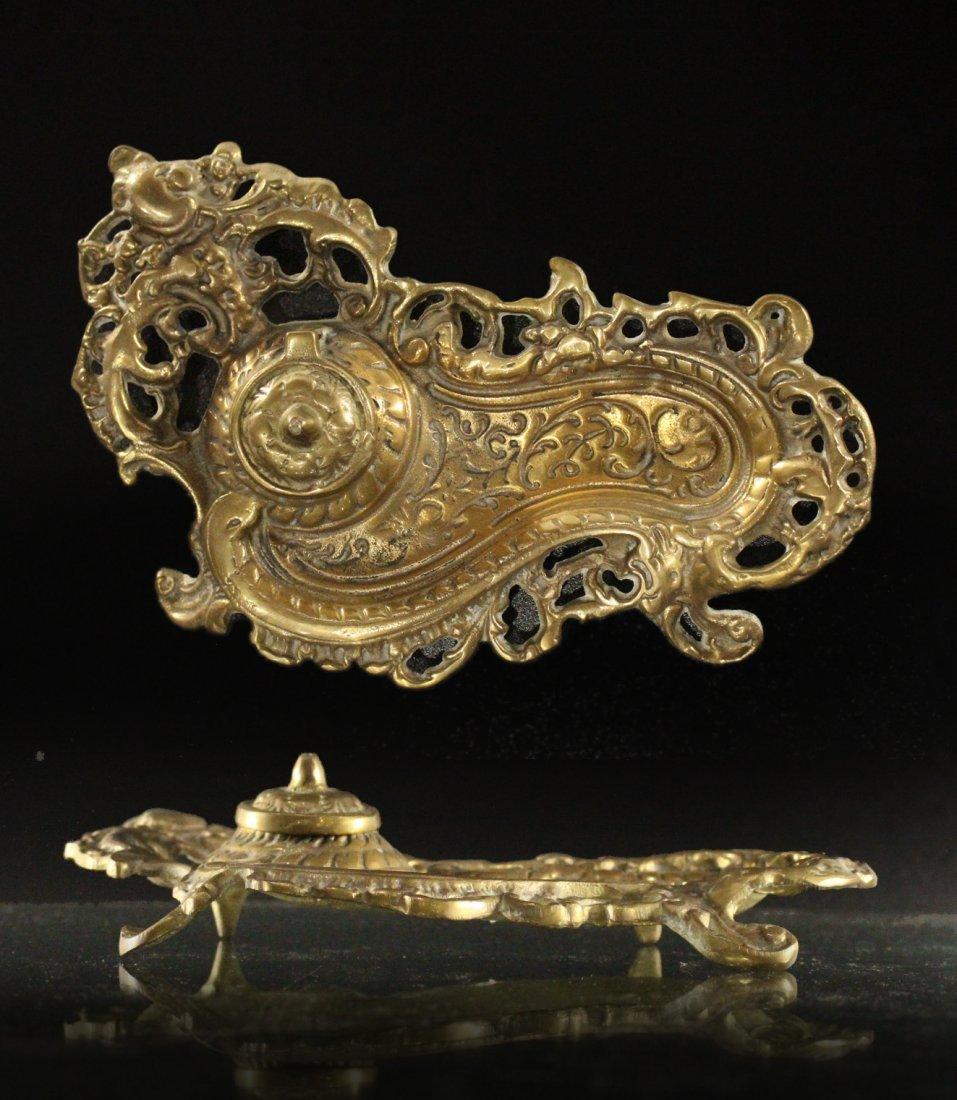 Brass ART NOUVEAU VICTORIAN DESKTOP INKWELL