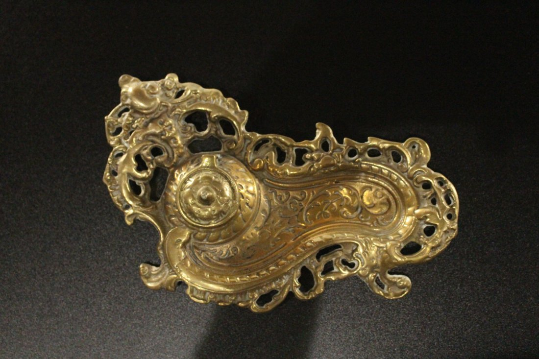 Brass ART NOUVEAU VICTORIAN DESKTOP INKWELL - 2