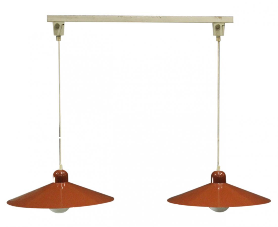 LUMIERE FRANCE Mid-Century Modern DOUBLE HANGING LIGHT