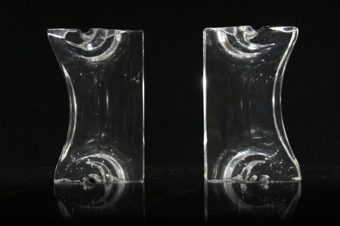 Pair Mid-Century Modern Clear LUCITE BOOKENDS