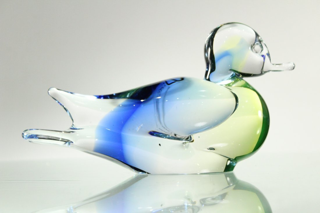 MURANO Italian ART GLASS DUCK FIGURINE Multi Colors - 4