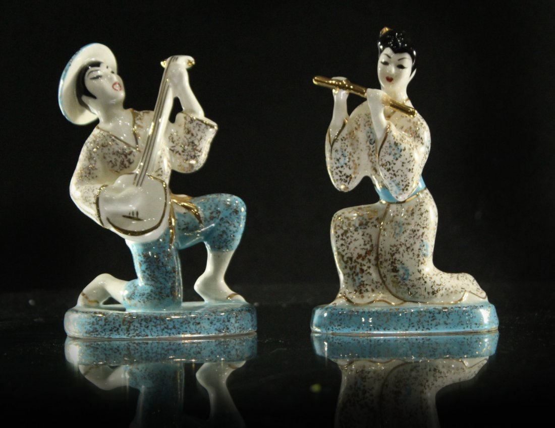 Two [2] Mid-Century CERAMIC MUSICIAN FIGURINES Signed