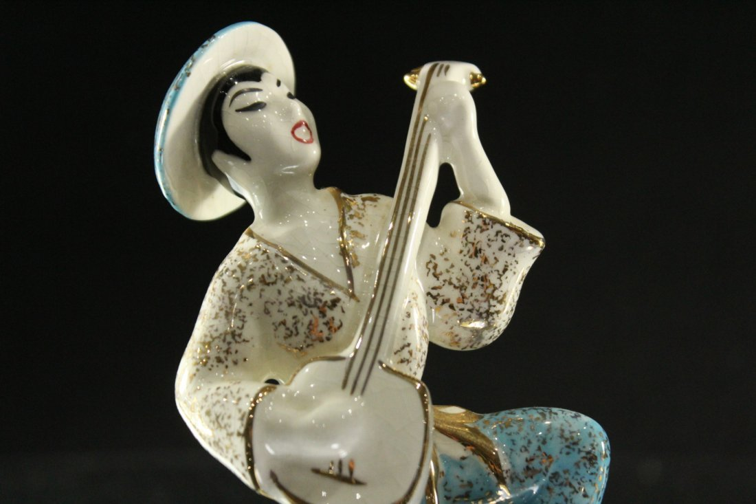 Two [2] Mid-Century CERAMIC MUSICIAN FIGURINES Signed - 2