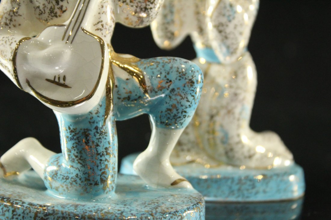Two [2] Mid-Century CERAMIC MUSICIAN FIGURINES Signed - 4