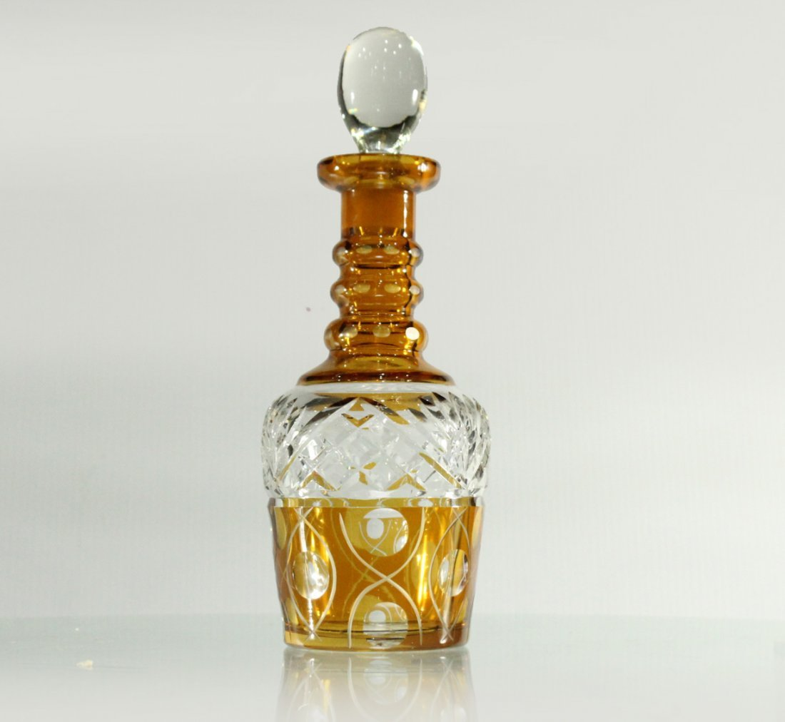 AMBER & CLEAR CUT GLASS DECANTER With Stopper