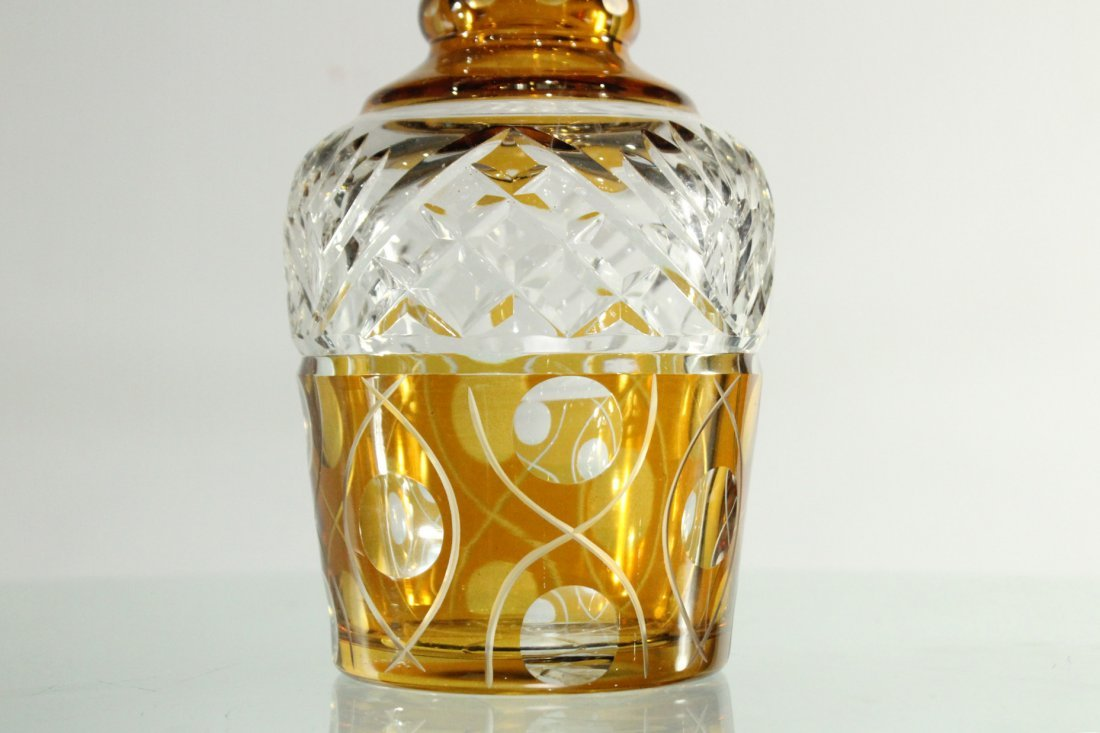 AMBER & CLEAR CUT GLASS DECANTER With Stopper - 2