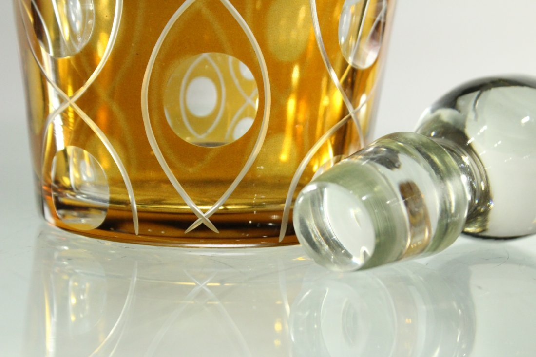 AMBER & CLEAR CUT GLASS DECANTER With Stopper - 5