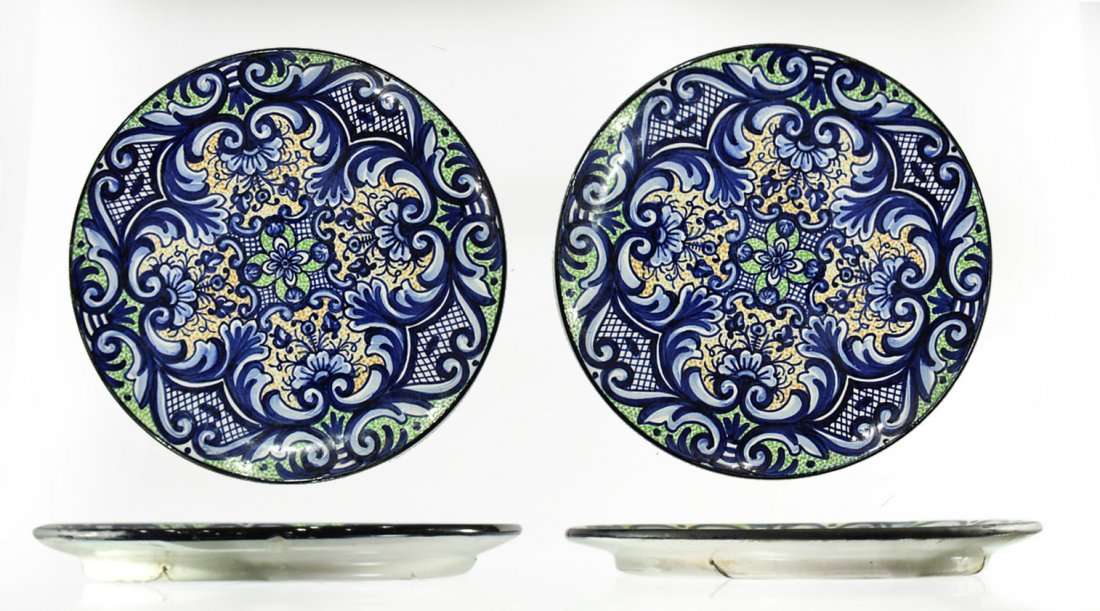 Two [2] PASCUAL ZORILLA Decorated Ceramic CHARGERS