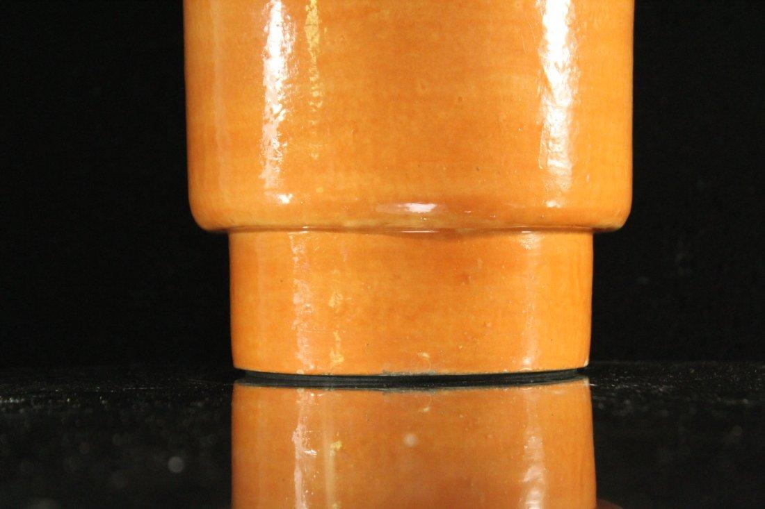 Mid-Century Modern ORANGE GLAZED POTTERY TABLE LAMP - 3