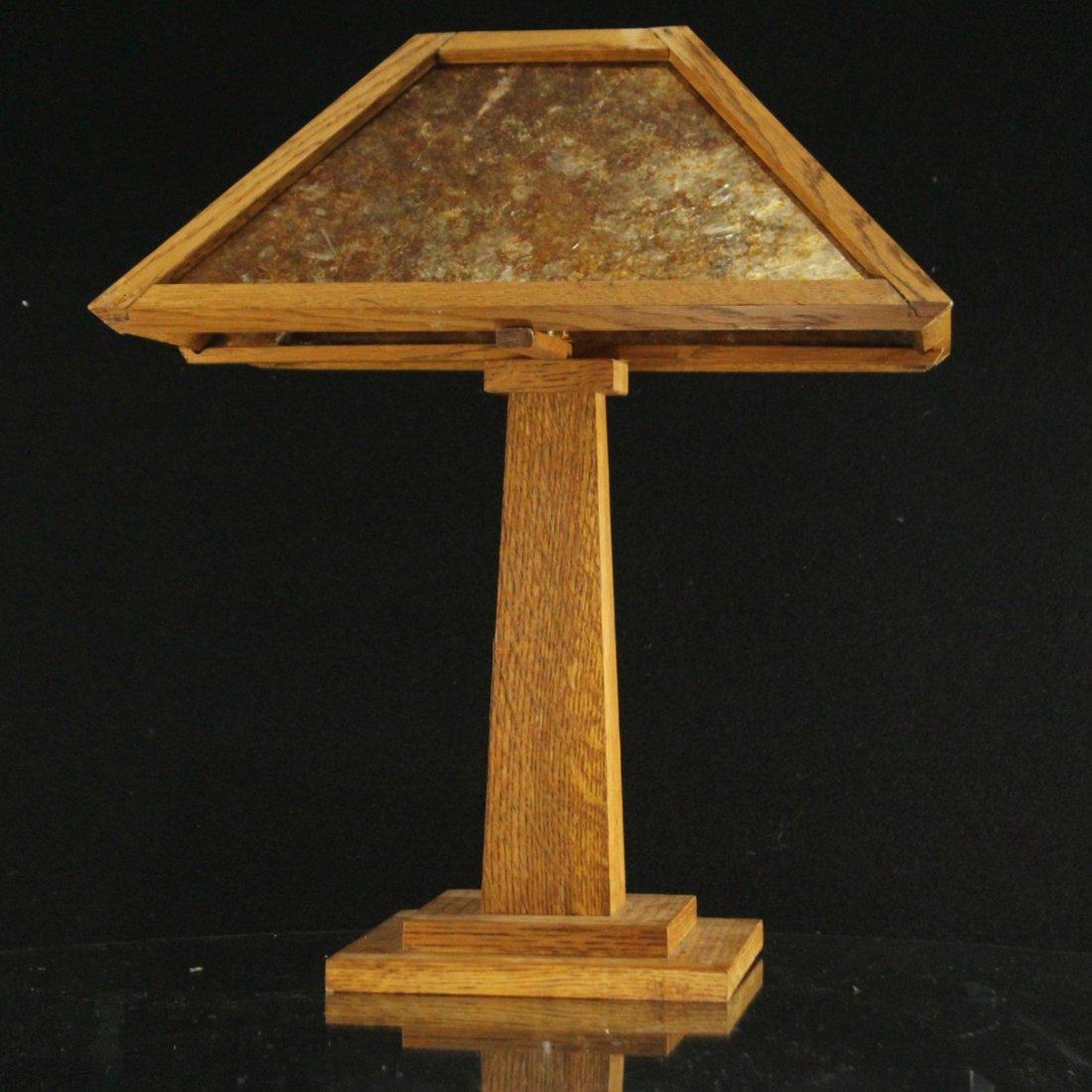 LEVENGER Arts& Crafts MISSION OAK TABLE LAMP MICA PANEL